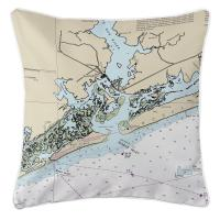 NC: Swansboro, NC Nautical Chart Pillow