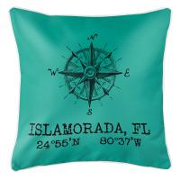 Custom Compass Rose Coordinates Pillow - Aqua