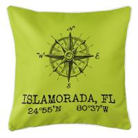 Custom Compass Rose Coordinates Pillow - Lime