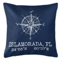 Custom Compass Rose Coordinates Pillow - Navy