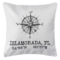 Custom Compass Rose Coordinates Pillow - White