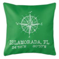 Custom Compass Rose Coordinates Pillow - Green
