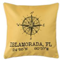 Custom Compass Rose Coordinates Pillow - Yellow