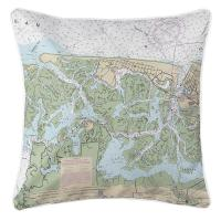 NJ: Brigantine, NJ Nautical Chart Pillow