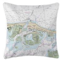 NJ: Barnegat Light, NJ Nautical Chart Pillow