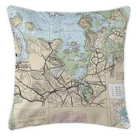 MA: Hingham, MA Nautical Chart Pillow
