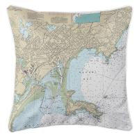 MA: Lynn, Nahant, MA Nautical Chart Pillow