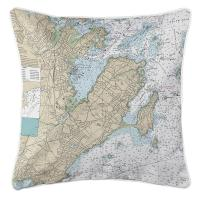 MA: Marblehead, Salem, MA Nautical Chart Pillow