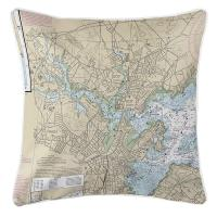 MA: Salem, Peabody, Beverly, MA Nautical Chart Pillow