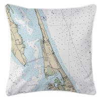 NC: Duck, Southern Shores, Kitty Hawk, NC Nautical Chart Pillow