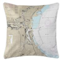 WI: Milwaukee, WI Nautical Chart Pillow