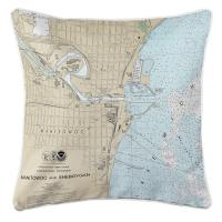 WI: Manitowoc, WI Nautical Chart Pillow