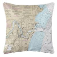 WI: Sheboygan, WI Nautical Chart Pillow