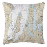 MI: Traverse City, MI Nautical Chart Pillow