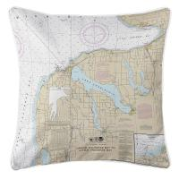MI: Charlevoix, MI Nautical Chart Pillow