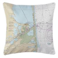 TX: Port Isabel, South Padre Island, TX Nautical Chart Pillow