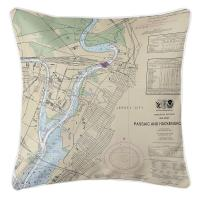 NJ: Jersey City, NJ Nautical Chart Pillow