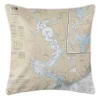 NC: Jacksonville, New River, NC Nautical Chart Pillow