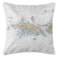 USVI: St. Thomas, USVI Nautical Chart Pillow