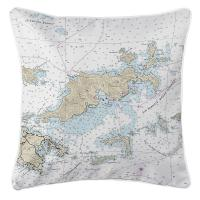 BVI: Tortola, BVI Nautical Chart Pillow