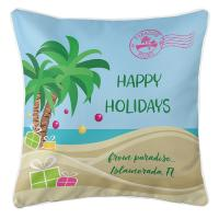 "Personalized ""Happy Holidays"" Tropical Pillow"