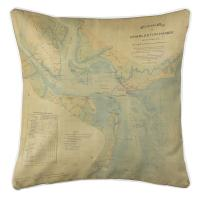SC: Charleston Harbor, SC, C. 1865 Vintage Nautical Chart Pillow