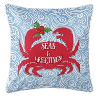 Seas & Greetings Crab Christmas Pillow