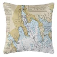 MA: New Bedford, Fairhaven, South Dartmouth, Sconticut Neck, MA Nautical Chart Pillow