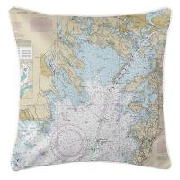 MA: Marion, Wareham, Buzzards Bay, MA Nautical Chart Pillow