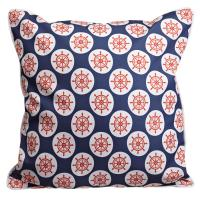 Captains Key - Ships Wheel & Stripes Pillow
