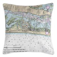 NC: Atlantic Beach, NC Nautical Chart Pillow