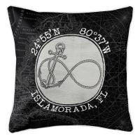 Custom Coordinates Vintage Infinity Anchor Pillow - Black