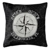 Custom Coordinates Vintage Compass Rose Pillow - Black