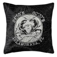 Custom Coordinates Vintage Crab Pillow - Black