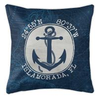 Custom Coordinates Vintage Anchor Pillow - Navy