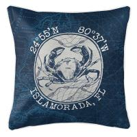 Custom Coordinates Vintage Crab Pillow - Navy