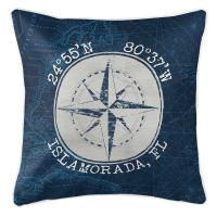 Custom Coordinates Vintage Compass Rose Pillow - Navy