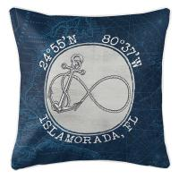 Custom Coordinates Vintage Infinity Anchor Pillow - Navy