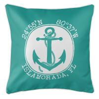 Personalized Coordinates Anchor Pillow - Aqua