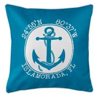 Personalized Coordinates Anchor Pillow - Blue