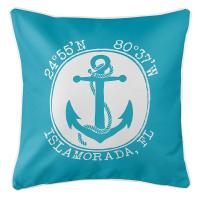 Personalized Coordinates Anchor Pillow - Calypso