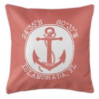 Personalized Coordinates Anchor Pillow - Coral