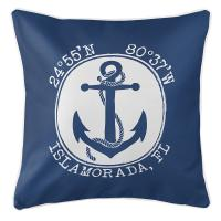 Personalized Coordinates Anchor Pillow - Navy