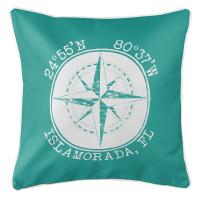 Personalized Coordinates Compass Rose Pillow - Aqua