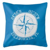 Personalized Coordinates Compass Rose Pillow - Blue