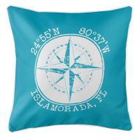 Personalized Coordinates Compass Rose Pillow - Calypso