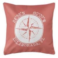 Personalized Coordinates Compass Rose Pillow - Coral