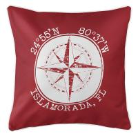 Personalized Coordinates Compass Rose Pillow - Red