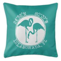 Personalized Coordinates Flamingo Pillow - Aqua