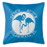 Personalized Coordinates Flamingo Pillow - Blue
